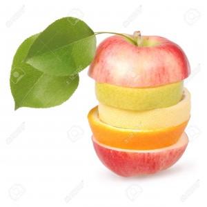 12509297-Allegri-frutta-mista-con-foglie-tra-cui-arancia-pera-mela-e-limone-isolato-su-bianco--Archivio-Fotografico